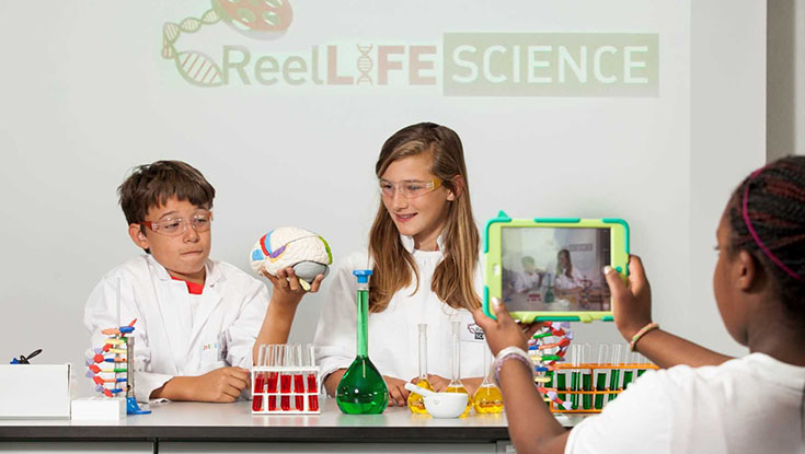 Making a video for ReelLIFE SCIENCE are pictured l-r: Juan Garcia Salamanca, Alix Lanthiez and Julia